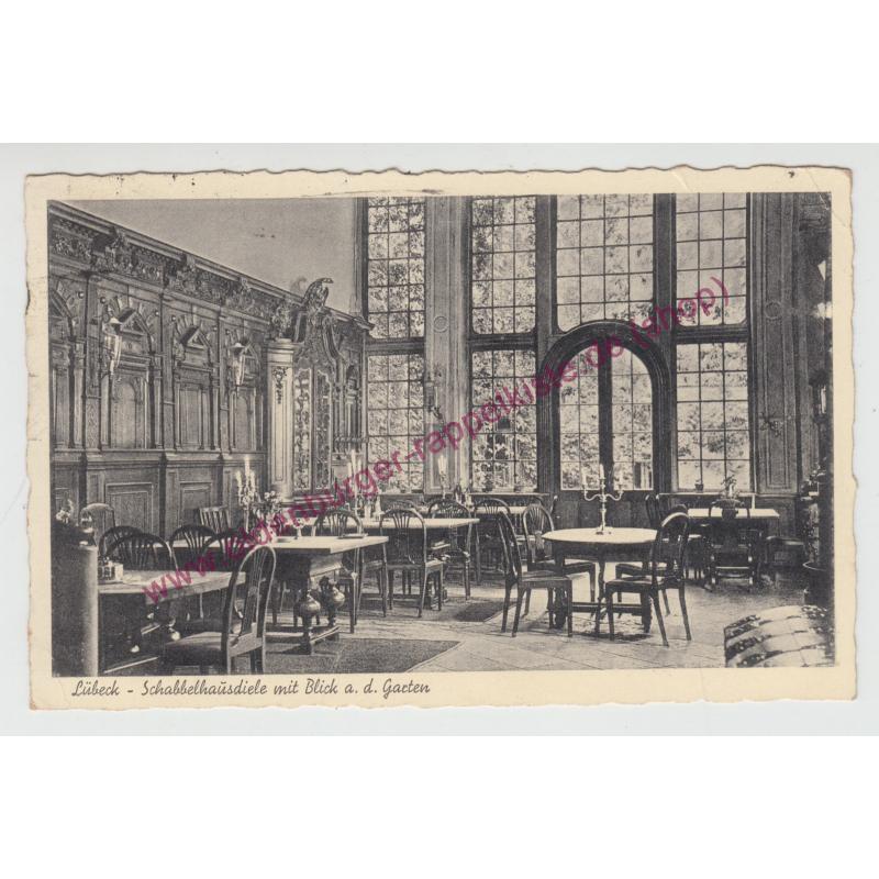AK Ansichtskarte LÜBECK Schabbelhausdiele - Garten, Mengstraße 36  (1938) gel.  -