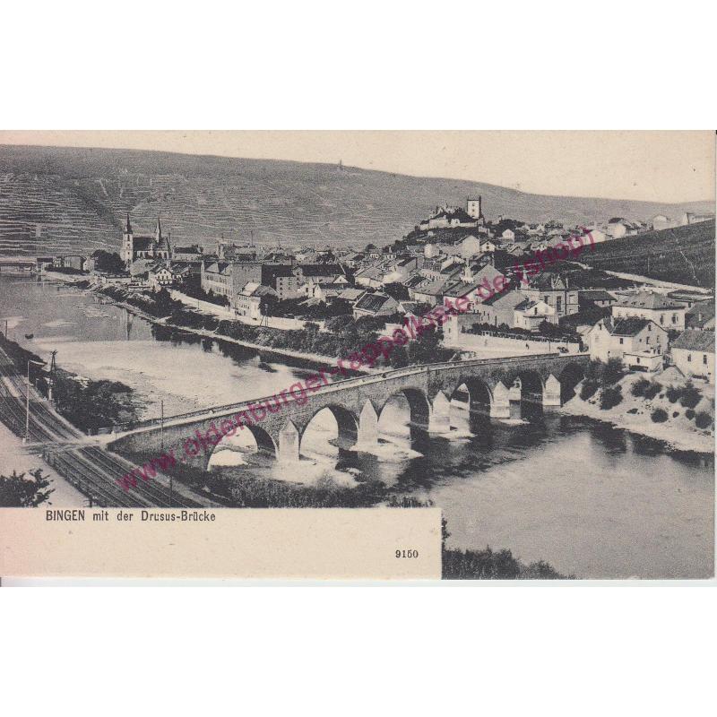 AK BINGEN mit Drusus-Brücke (1905)  postcard -