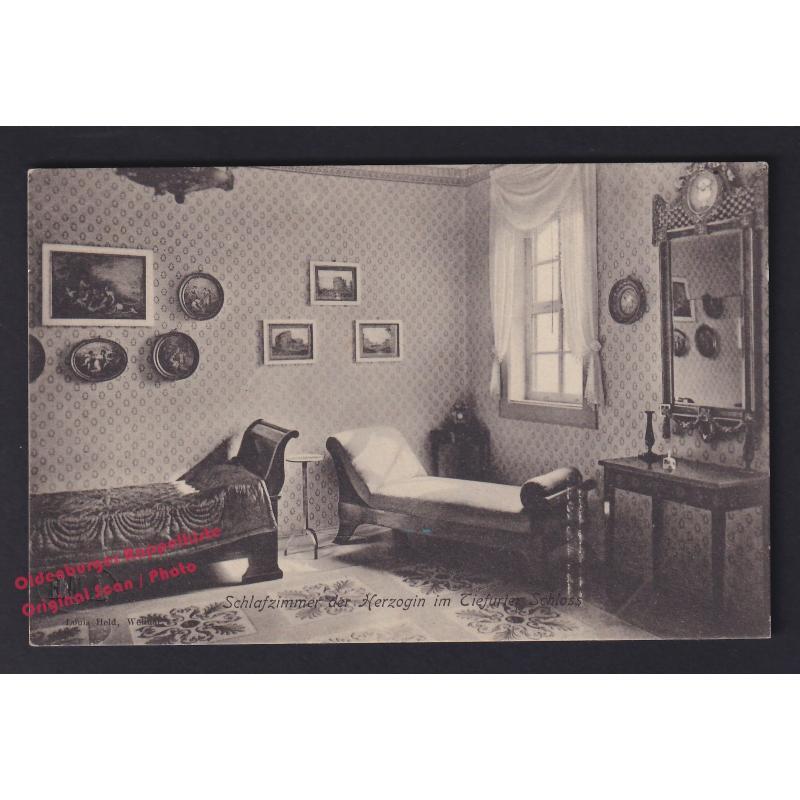 AK Das Schlafzimmer der Herzogin im Schloss Tiefurt (Weimar) * Echt-Foto - nicht gelaufen-
