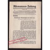 Burschenschaft Allemannia: Allemannen - Zeitung - N°1 /1937 - 20.Jhg.  - Werner,Paul (Schriftleitung)